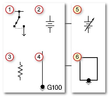 automotive wiring basic symbols (1) switch, (2) battery, (3) resistor, (4) ground. (5) variable ... circuit diagram ground symbol #6