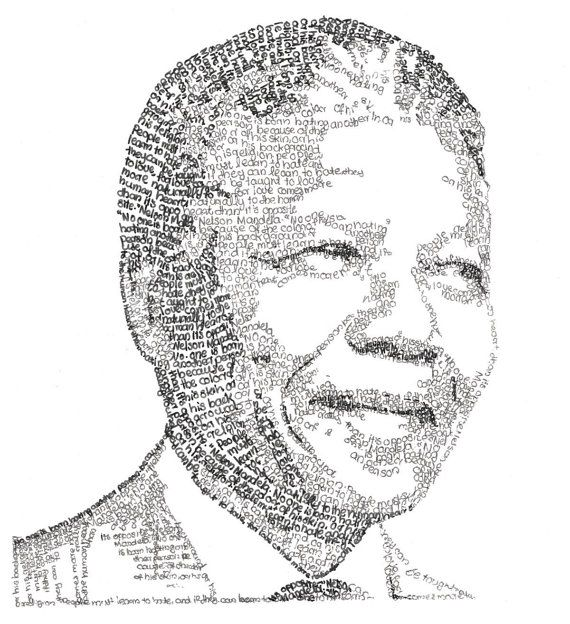 Nelson Mandela Portrait Handcrafted Using Words From Long Walk To Freedom Quote About Love Nelson Mandela Art Black Arts Movement Nelson Mandela