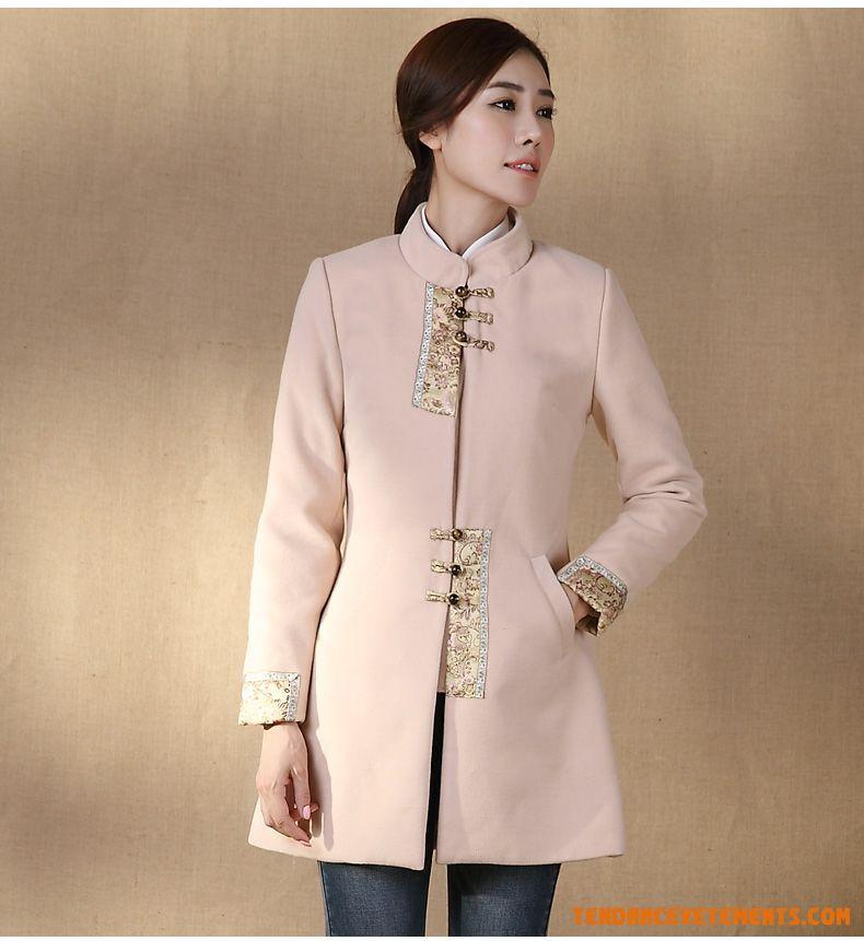 Femme manteau longue épaissir mince manche longue collier
