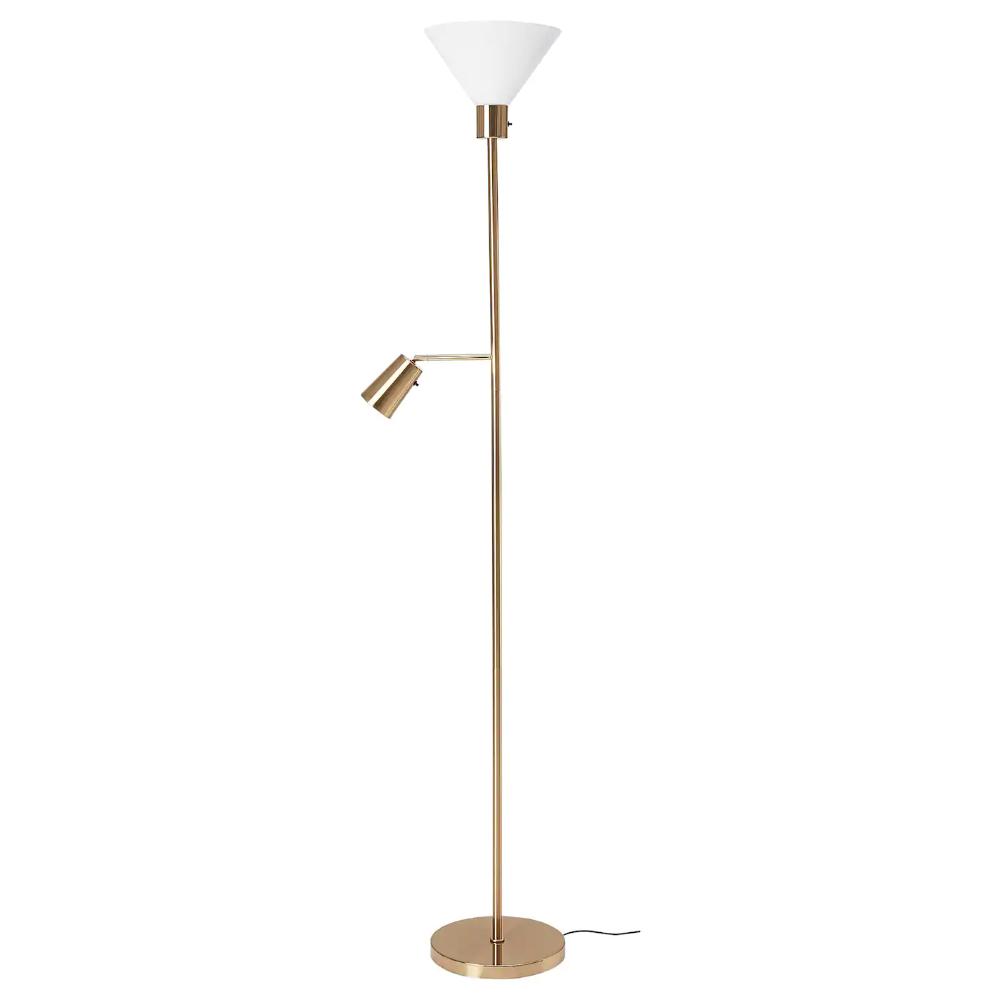 Flugbo Floor Uplighter Reading Lamp Brass Colour Glass Ikea Ireland In 2020 Reading Lamp Reading Lamp Floor Lamp