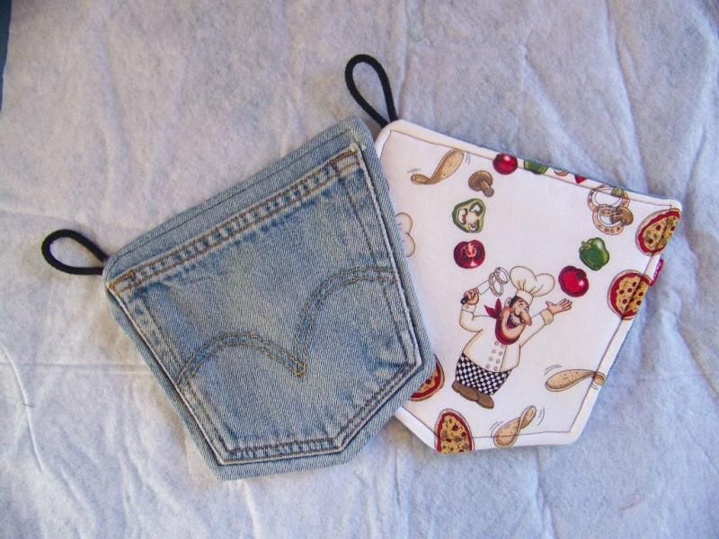 Potholders Repurposed Denim Levis Italian Pizza Chef  by 5dogdesigns on Zibbet
