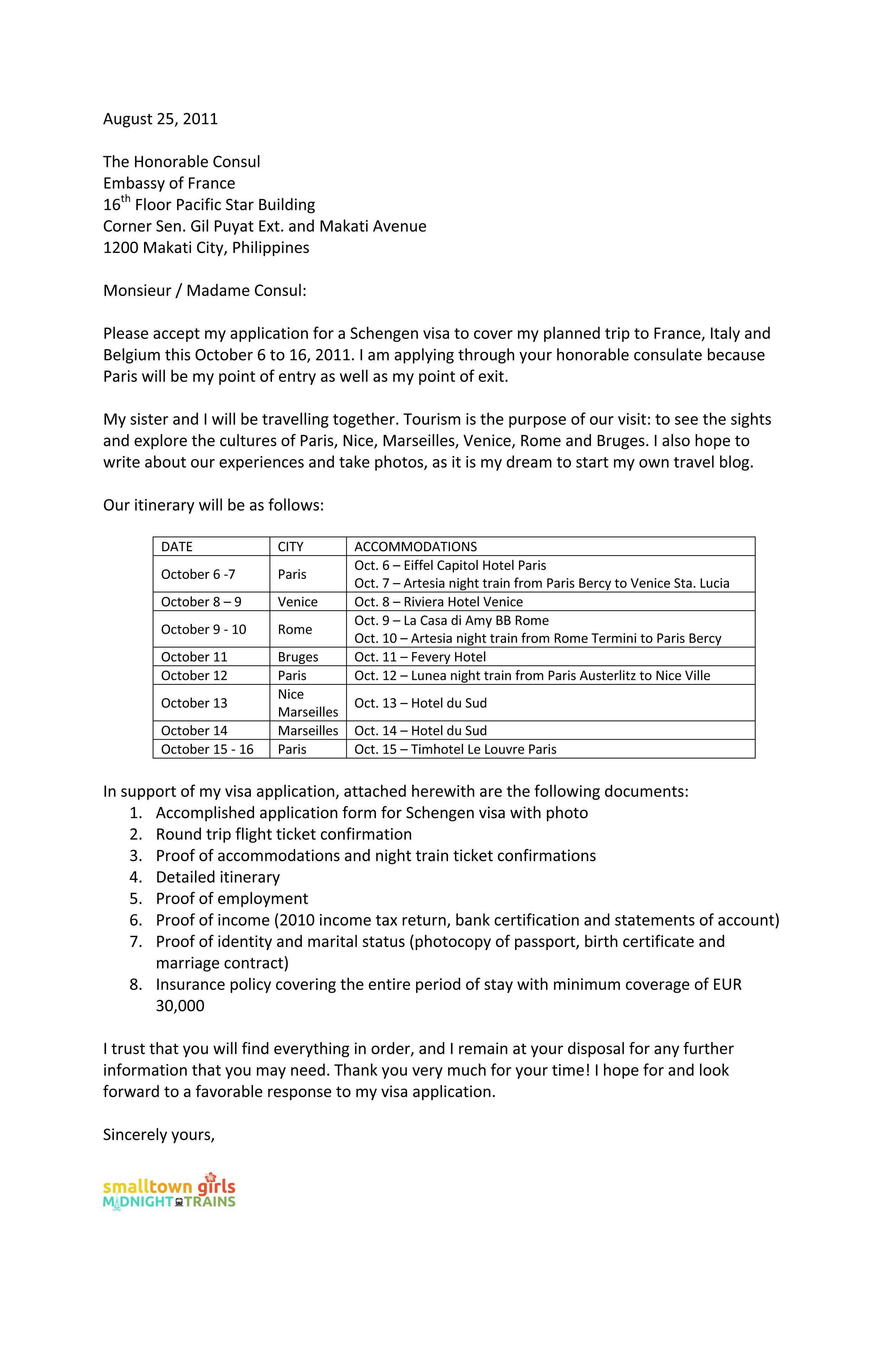 Cover Letter Template Visa Application Cover Letter Template