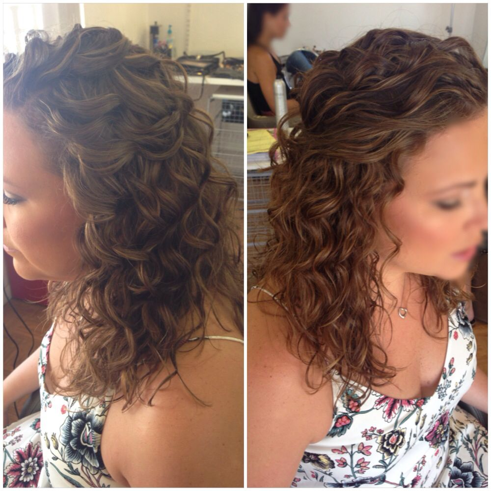 bridal hair, wedding hair, half up half down, curly hair, natural