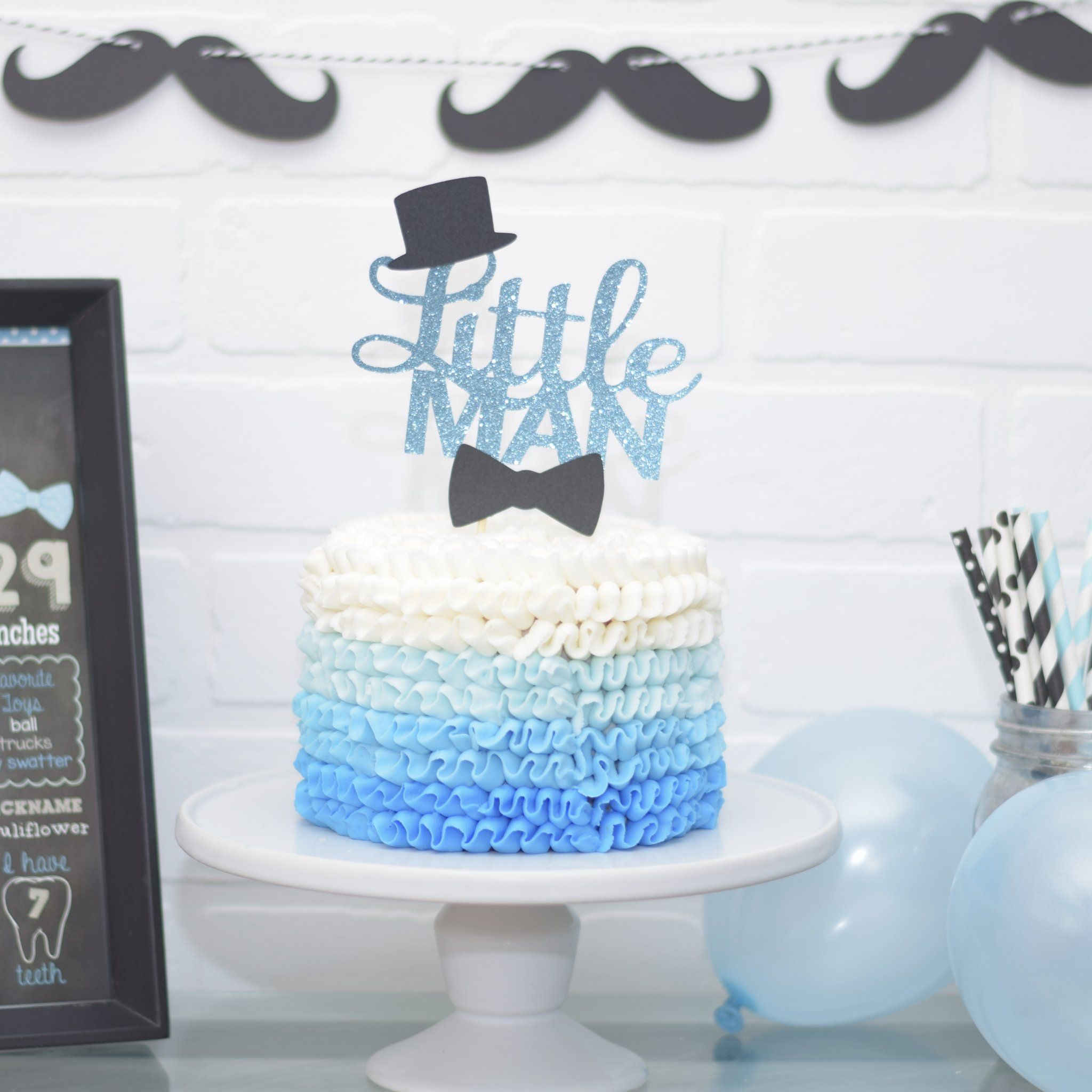 Little Man 1st Birthday Cake Topper Or Baby Shower Cake Topper Baby Shower Cake Toppers Boy Baby Birthday Cakes 1st Birthday Cake Topper