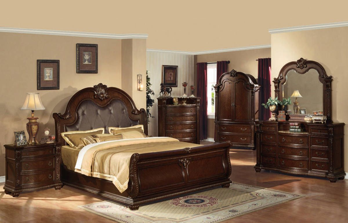 Anondale Traditional Cherry Wood Bedroom Set Wood Bedroom Sets