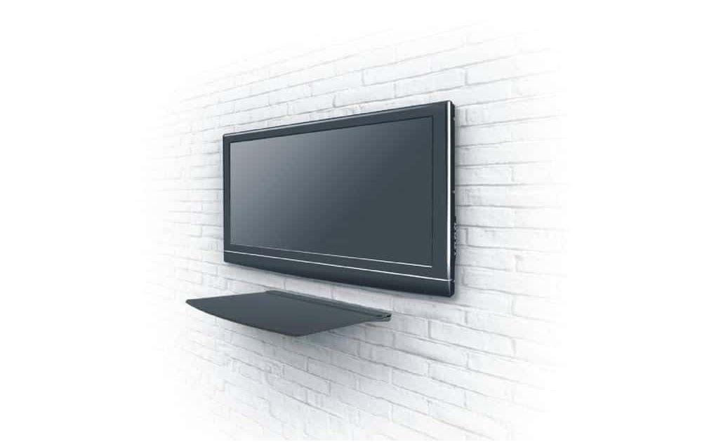 etagere murale tv en verre noire avec