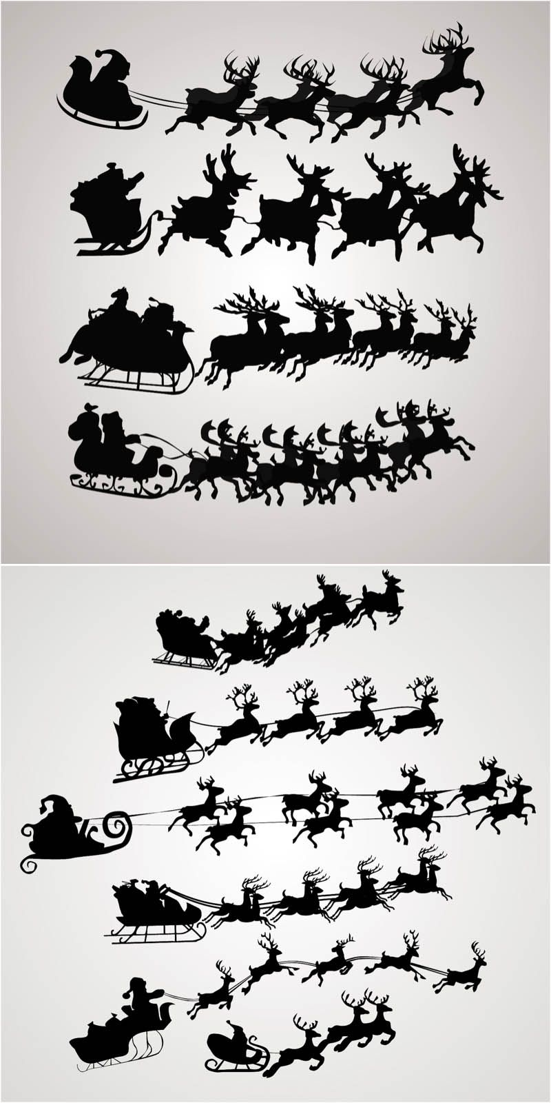 Santa Claus on a sleigh vector. Free download
