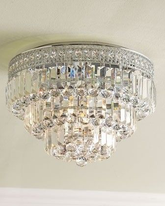 Crystal Ceiling Mount Light Fixture Master Bedroom One At
