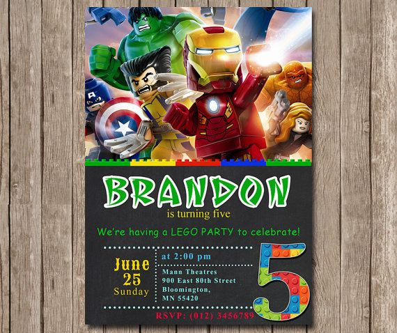 SALE 30 Lego Marvel Avengers Invitation For By Diartimage