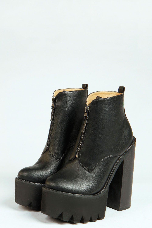 9bff525ac77 Mia Extreme Platform And Tread Zip Up Boots at boohoo.com ...