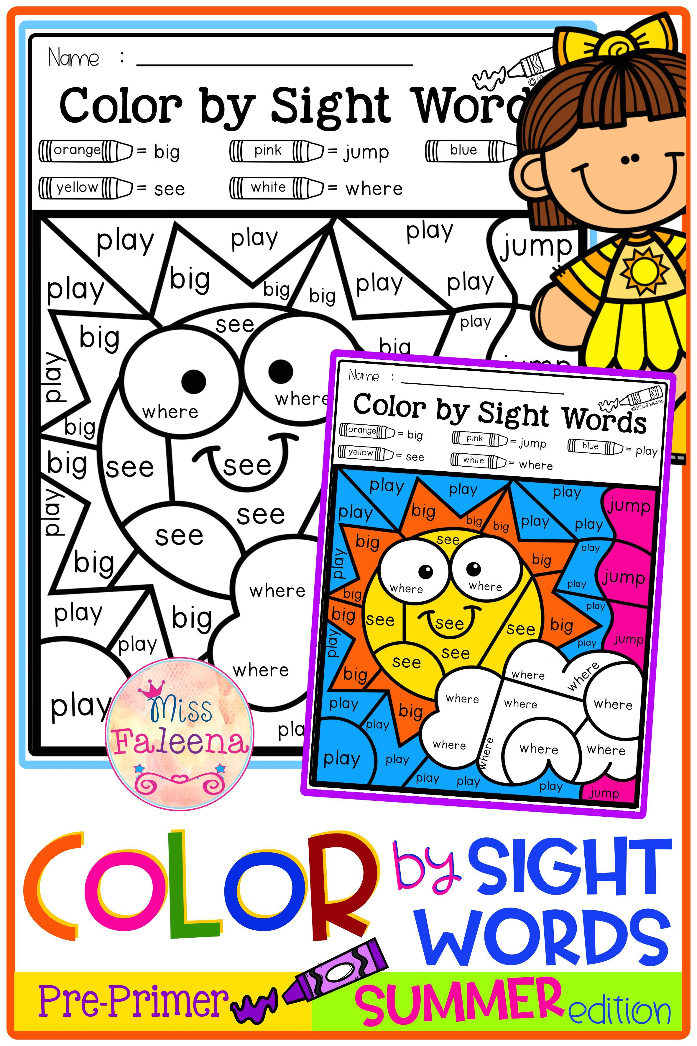 Summer Color By Code Sight Words Pre Primer Di