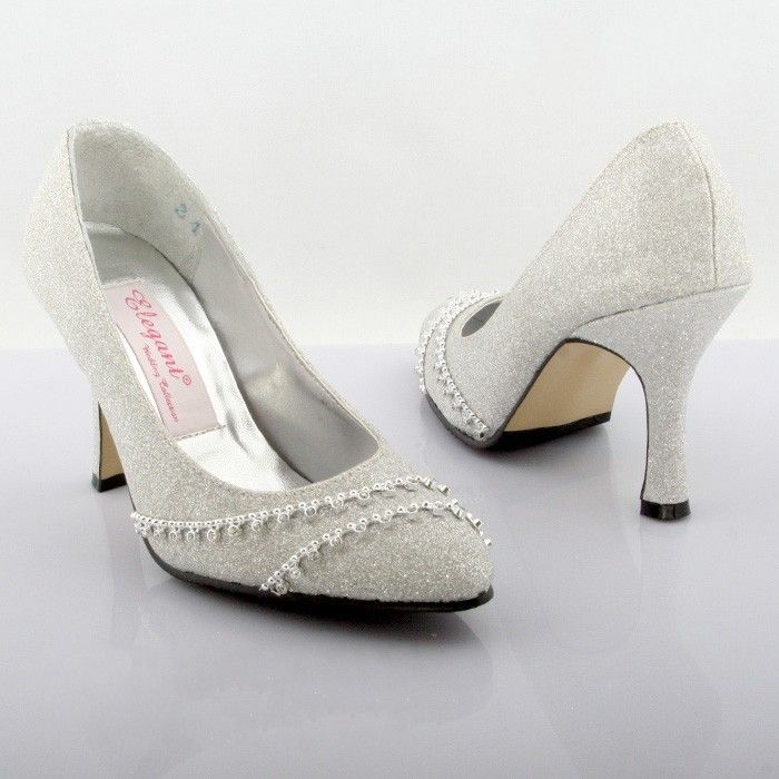 Medium Heel Shoes Mid Closed Toes Sparkling Silver Dyeable Wedding