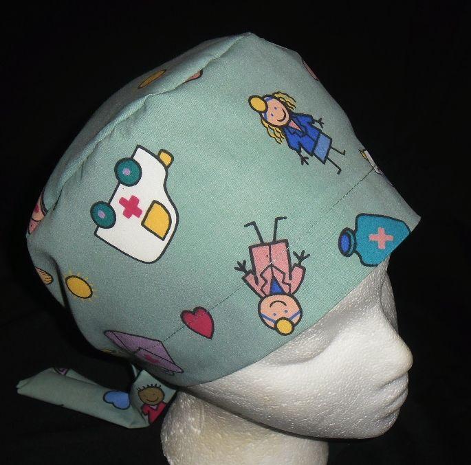e66017cd797 Ladies Nurses Surgical Scrubs Hat Pixie Scrub Cap Caps Hats MEDICAL PRINT