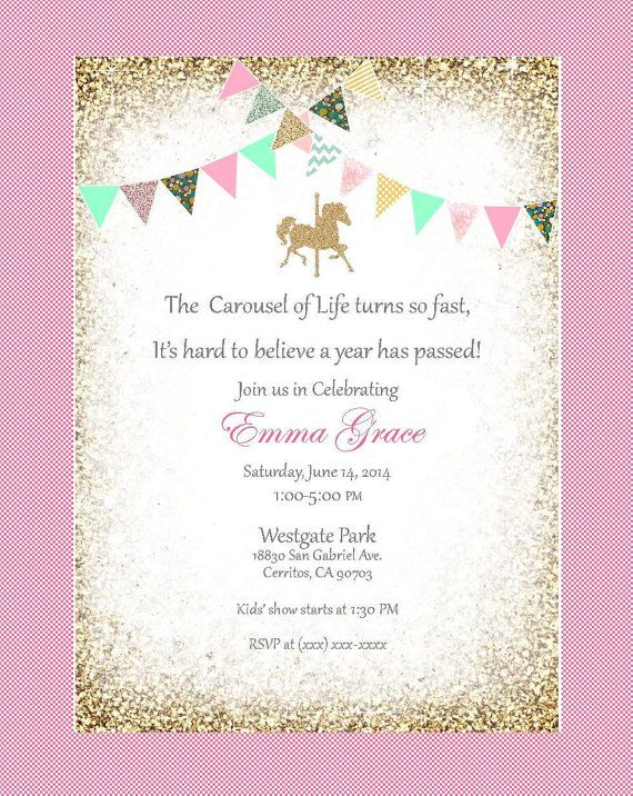 Carousel birthday invitation red mint green pink gold blue