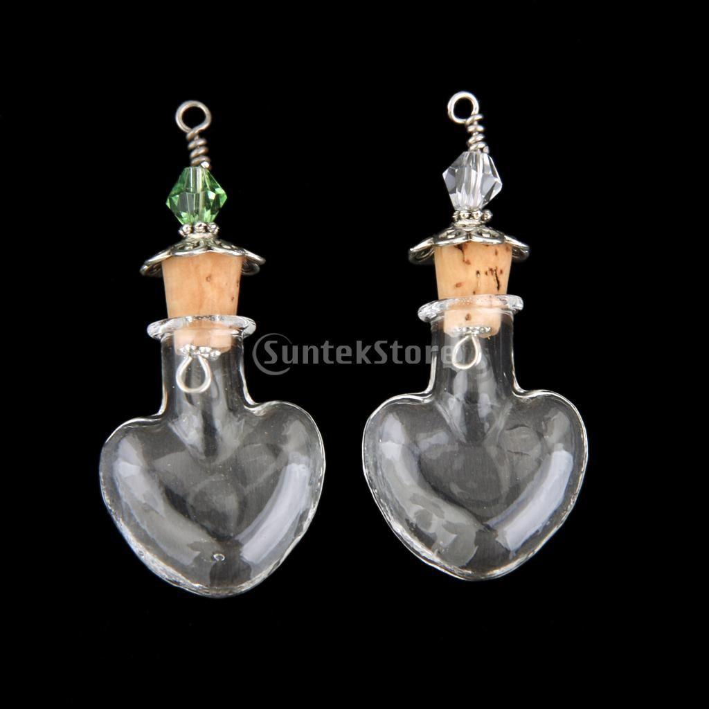 2pcs clear empty glass bottle vial cork metal caps pendant diy heart shape free shipping
