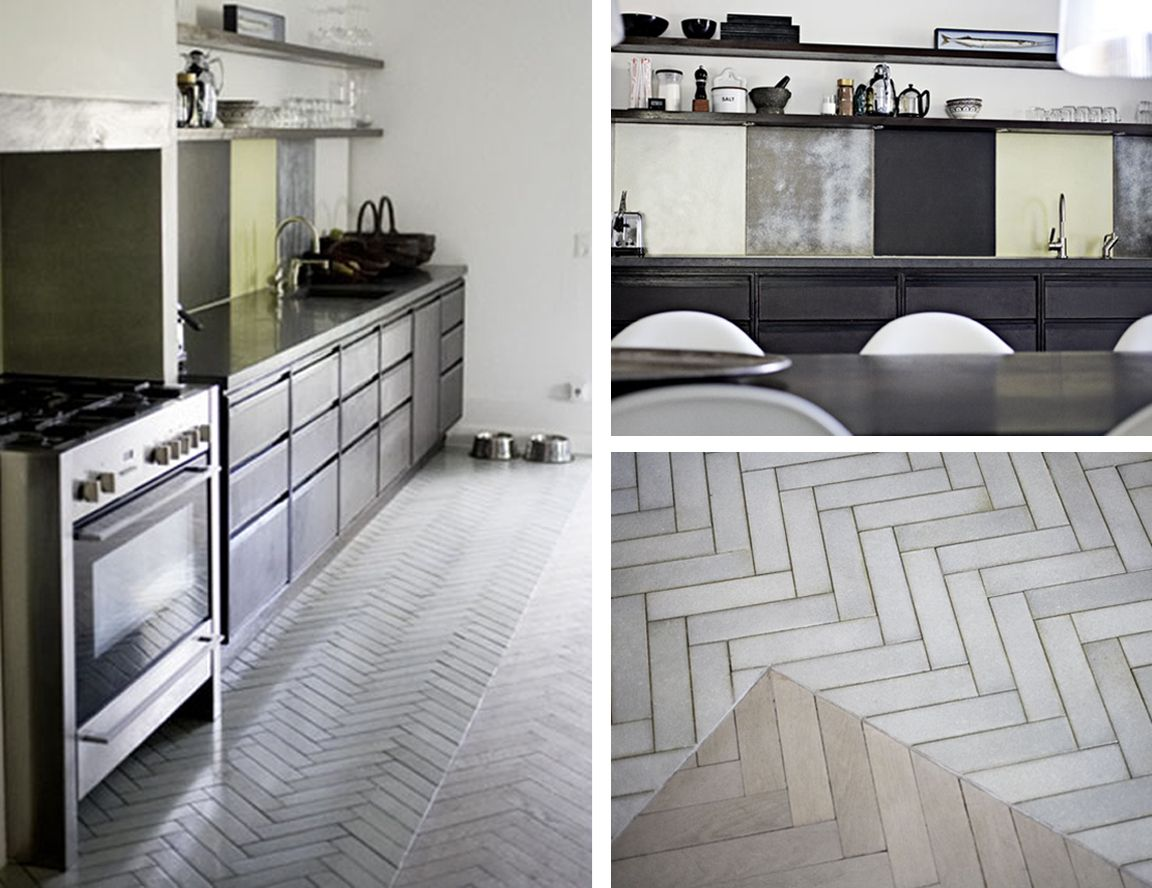 gray and white herringbone tile floors