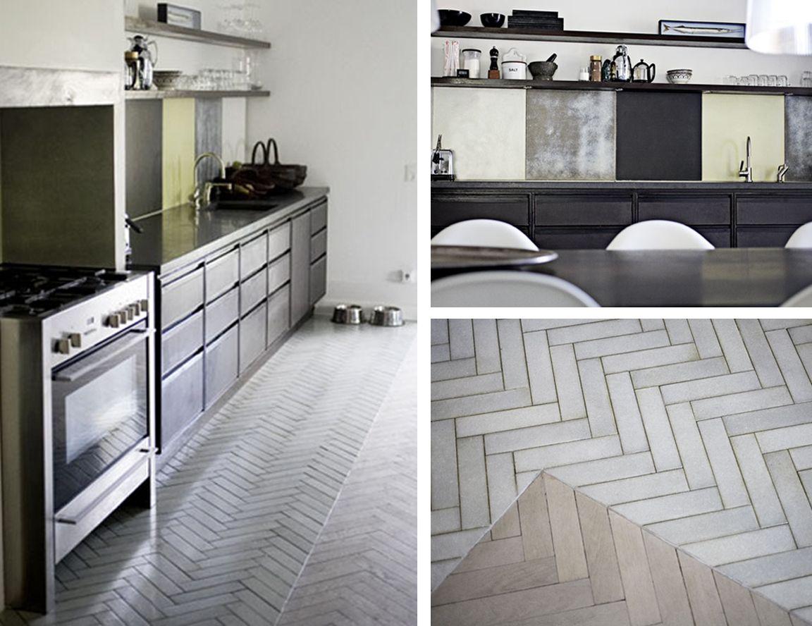 gray and white herringbone tile floors   BLACK. WHITE ...