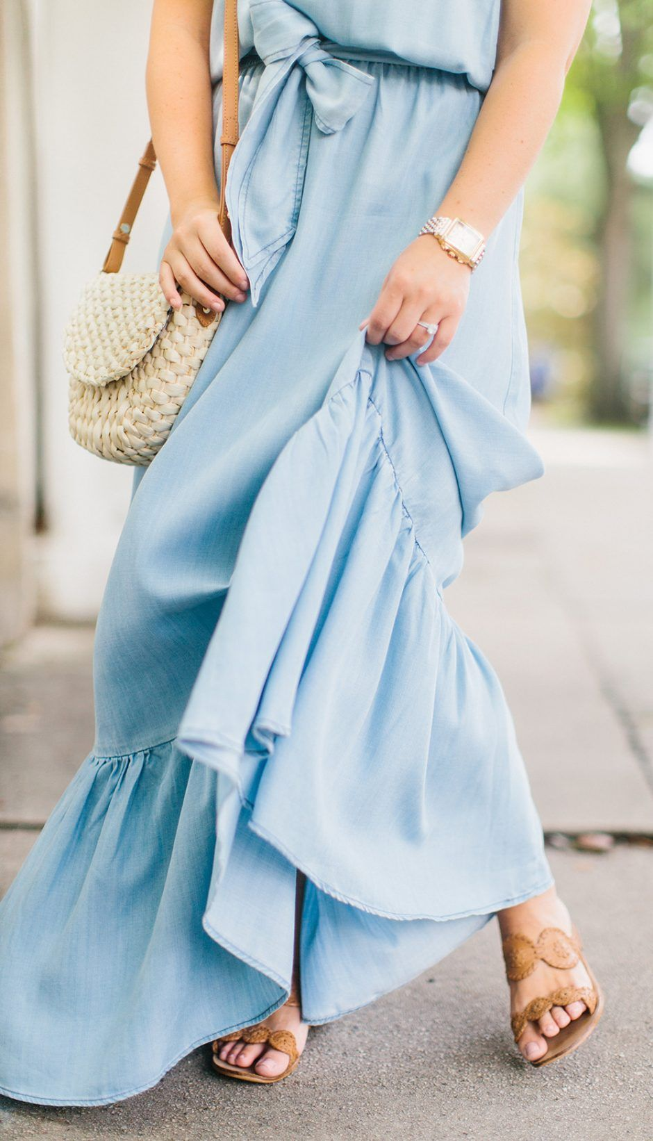 Blue maxi dress blue pinterest chambray columns and clothes