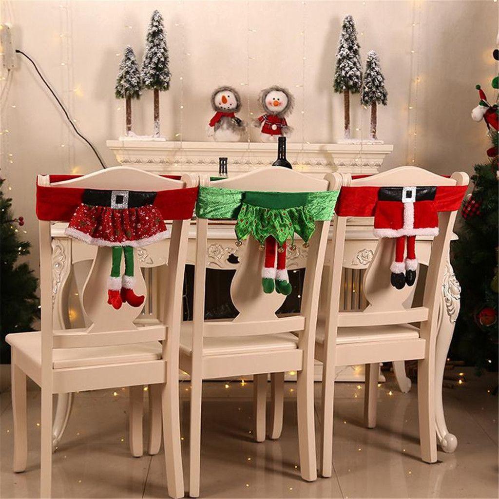 Christmas Decorations Non Woven Elf Chair Set Stool Set Chair Cover In 2020 Christmas Chair Christmas Chair Covers Seat Covers For Chairs