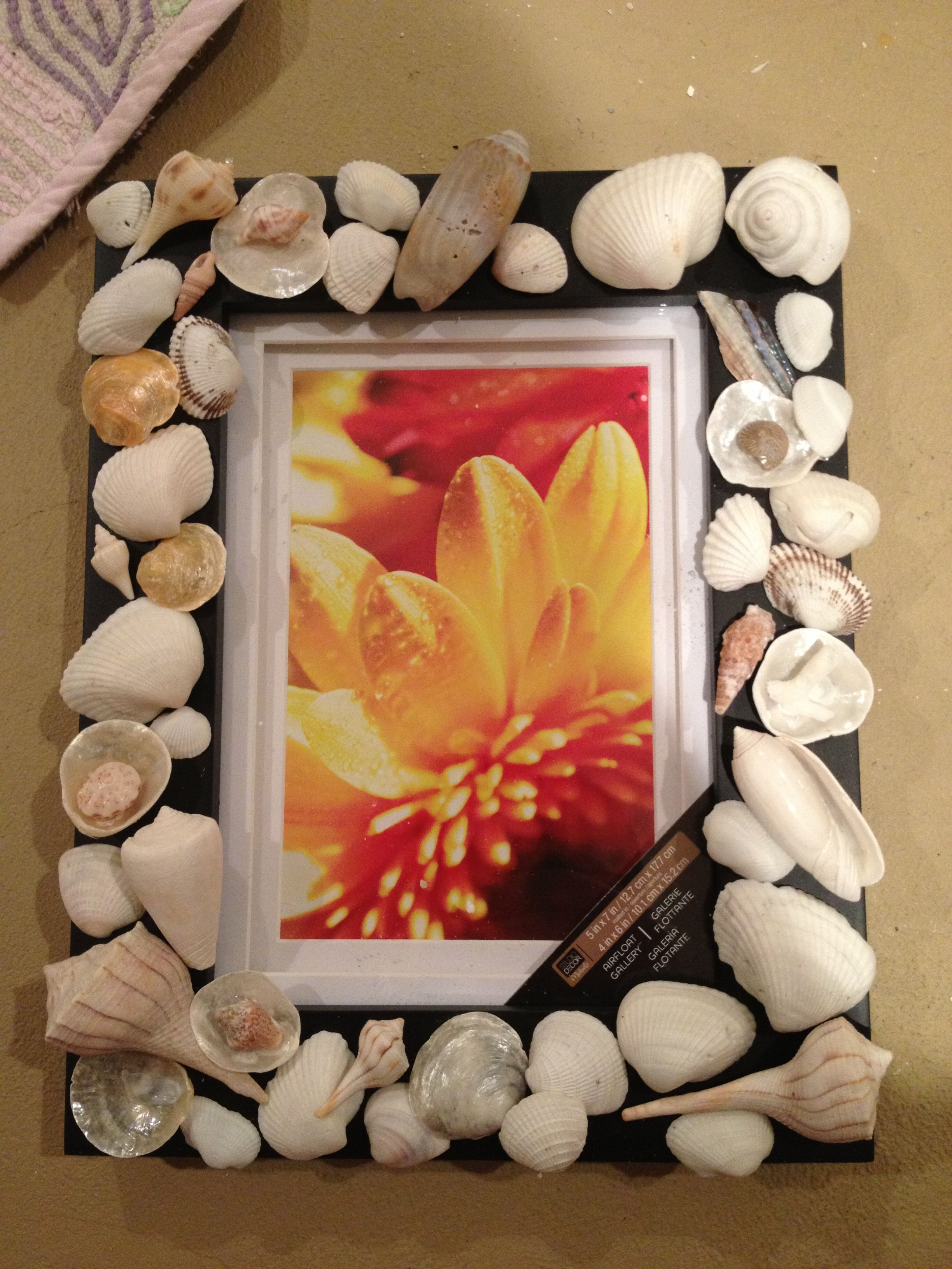 After a beach vacation use the shells to make a picture frame!
