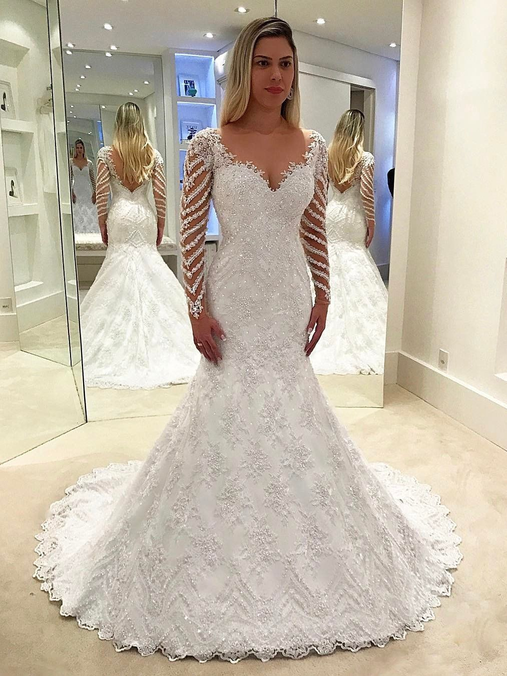 Mermaid wedding dressesv neck long sleeve brush train lace prom