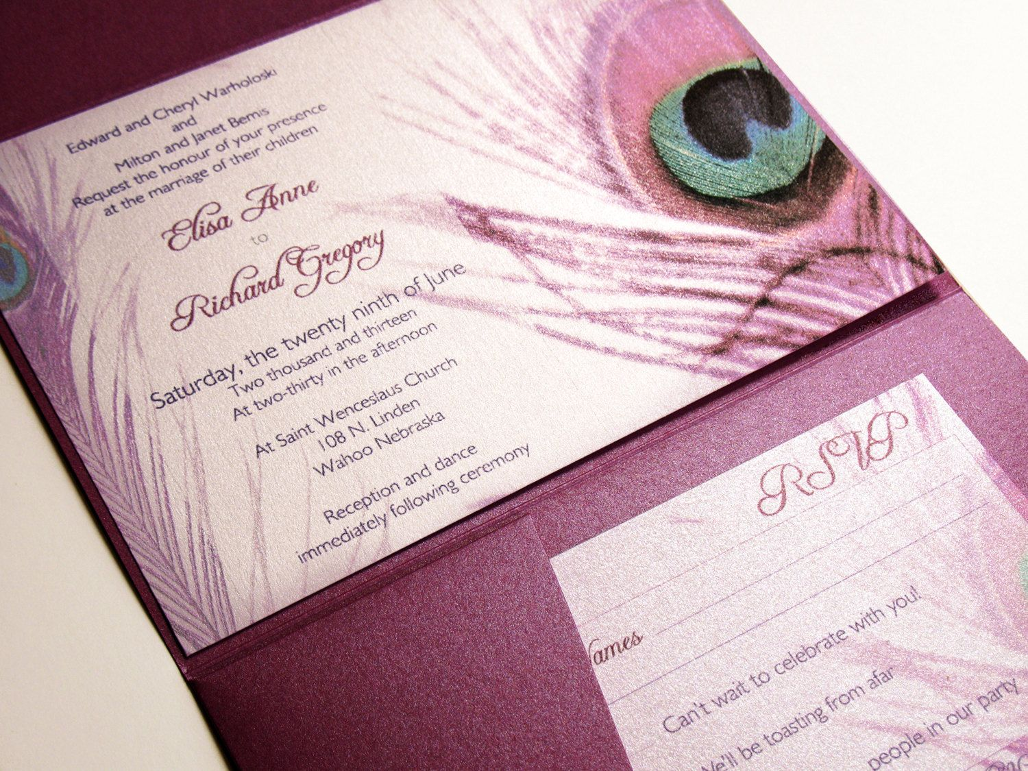 Glamour Peacock Wedding Invitation Set By DesignedWithAmore