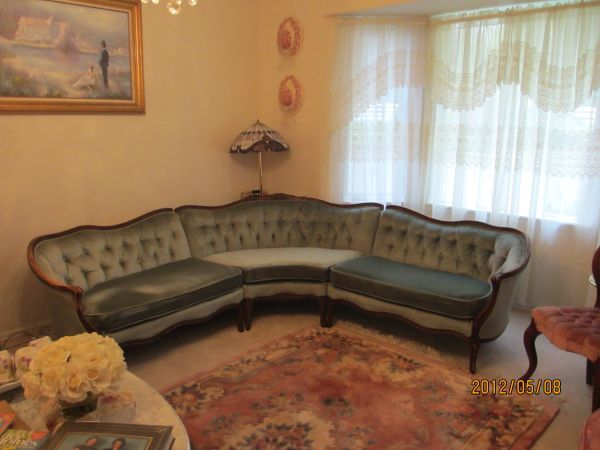 Vintage French Provincial Sectional Couch I Like How The Cool Grey Blue Fabric Is Offset By Warmth Of Brown Exposed Frame