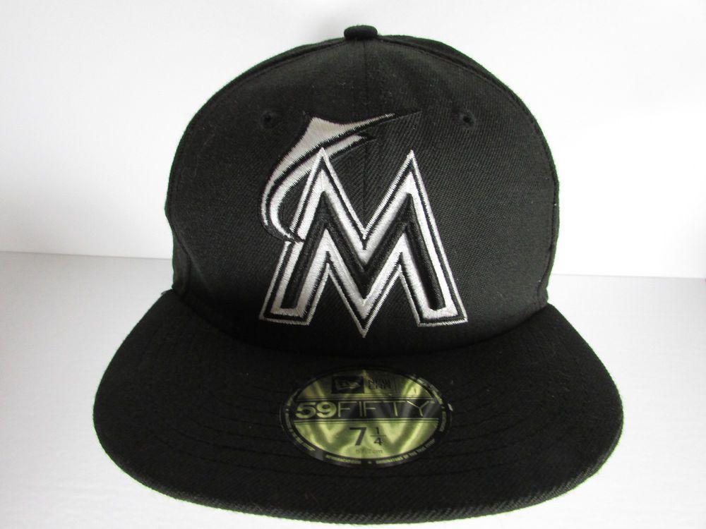 74d60b48 MIAMI MARLINS Black White New Era 59fifty MLB Baseball Cap Hat Fitted 7 1/4  . #NewEra #BaseballCap #MiamiMarlins