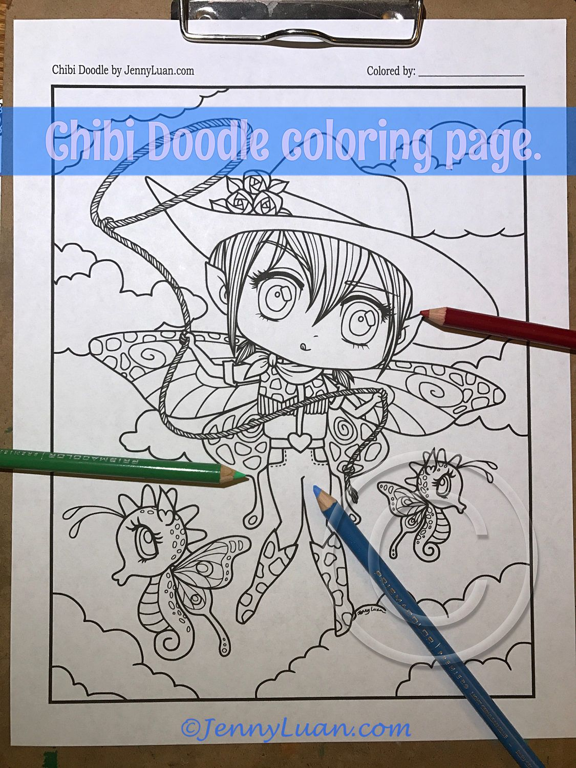 Chibi Doodle Cowgirl Rodeo Fairies Anime Manga Coloring Page For Adult PDF Download By JennyLuanArt