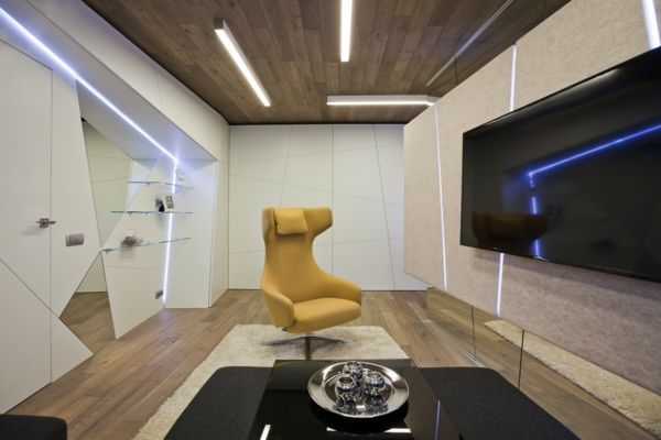 Extravagante Wohnzimmer Gestaltung für eine Familie von Musikern