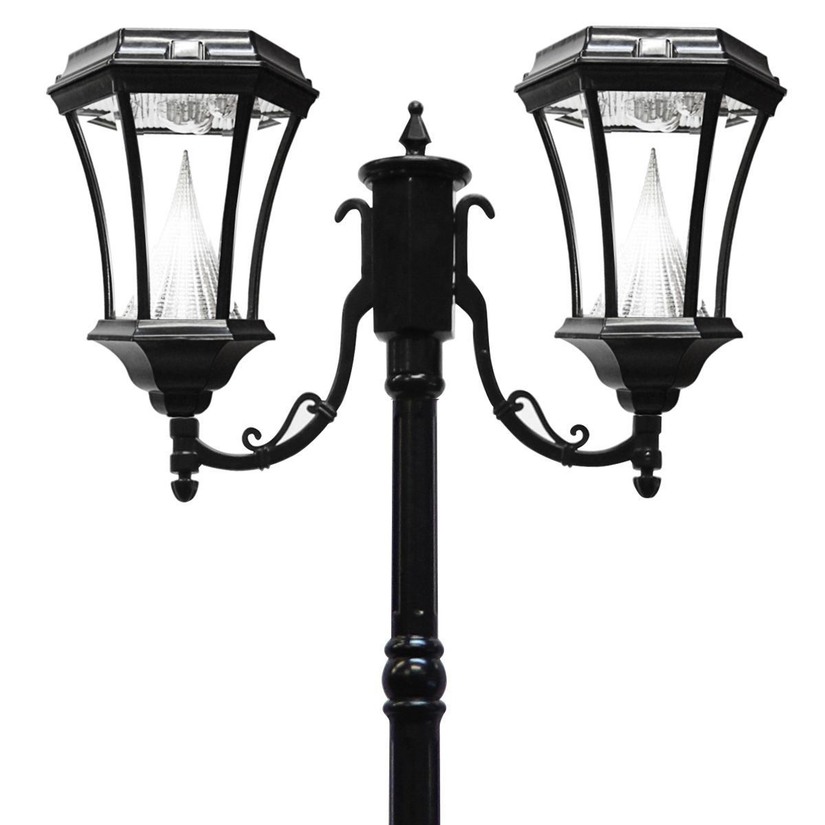 The gama sonic gs 94d 7 foot high solar powered traditional styled look at this black solar led victorian two light lantern post mozeypictures Gallery