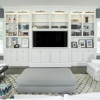 white living room tv cabinet with nickel picture lights for the rh pinterest com Modern Living Room Storage Cabinets Modern Living Room Cabinet Ideas