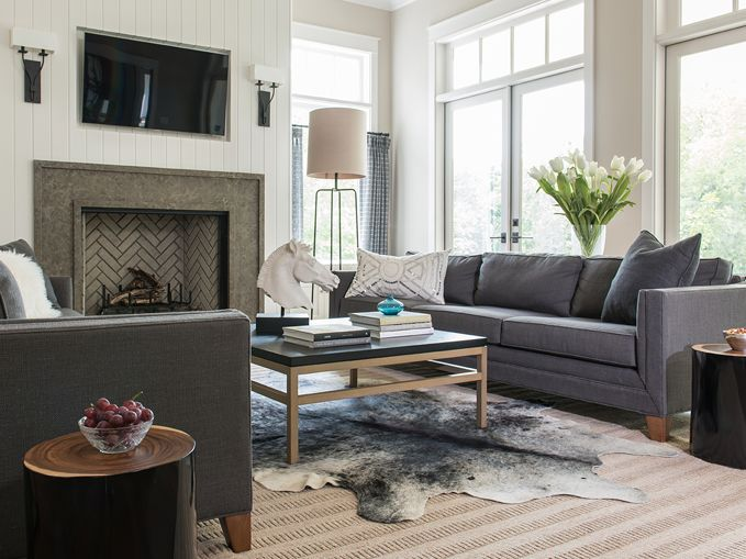 Beautiful Living Room Features A Vertical Shiplap Fireplace Wall Lined With A Flat Interior Design Dining Room Living Room With Fireplace Dining Room Paneling