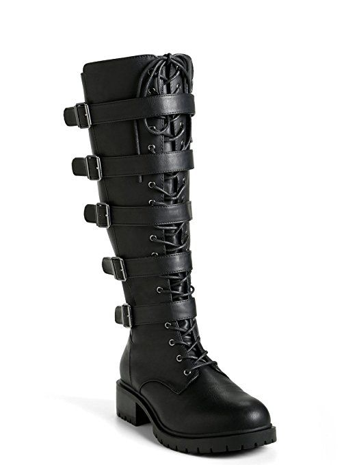 11d7086aeadf Strappy Lace Up Combat Boots (Wide Width   Wide Calf)