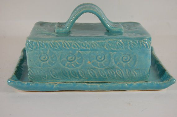 Pottery Butter Dish Covered Butter Dish By