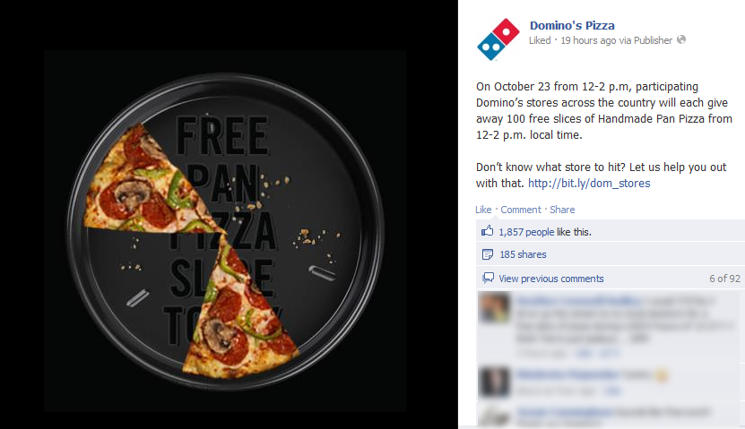Free slice of pizza 122pm Tuesday at Dominos Pizza coupon