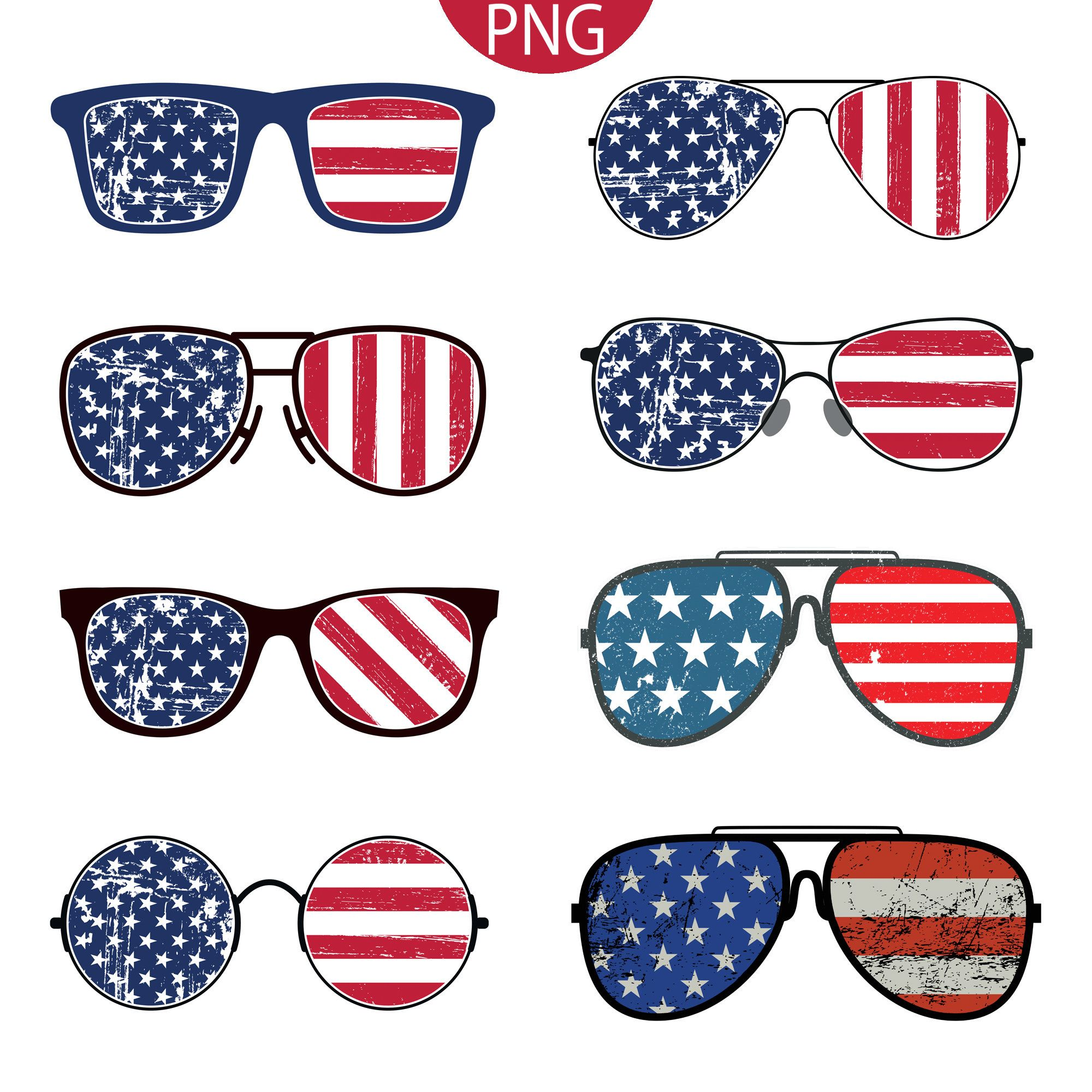 American Flag Sunglasses Multi Pack 8 Png Files Patriotic 4th Of July Usa Commercial Use Transparent Clipart In 2020 American Flag Clip Art American Flag Sunglasses