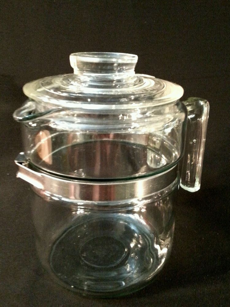 Vintage Pyrex Flameware 4 Cup Percolator Body Lid 7824 B With 7826 H Handle A Cute Classic Pyrex Pyrex Vintage Coffee Pot