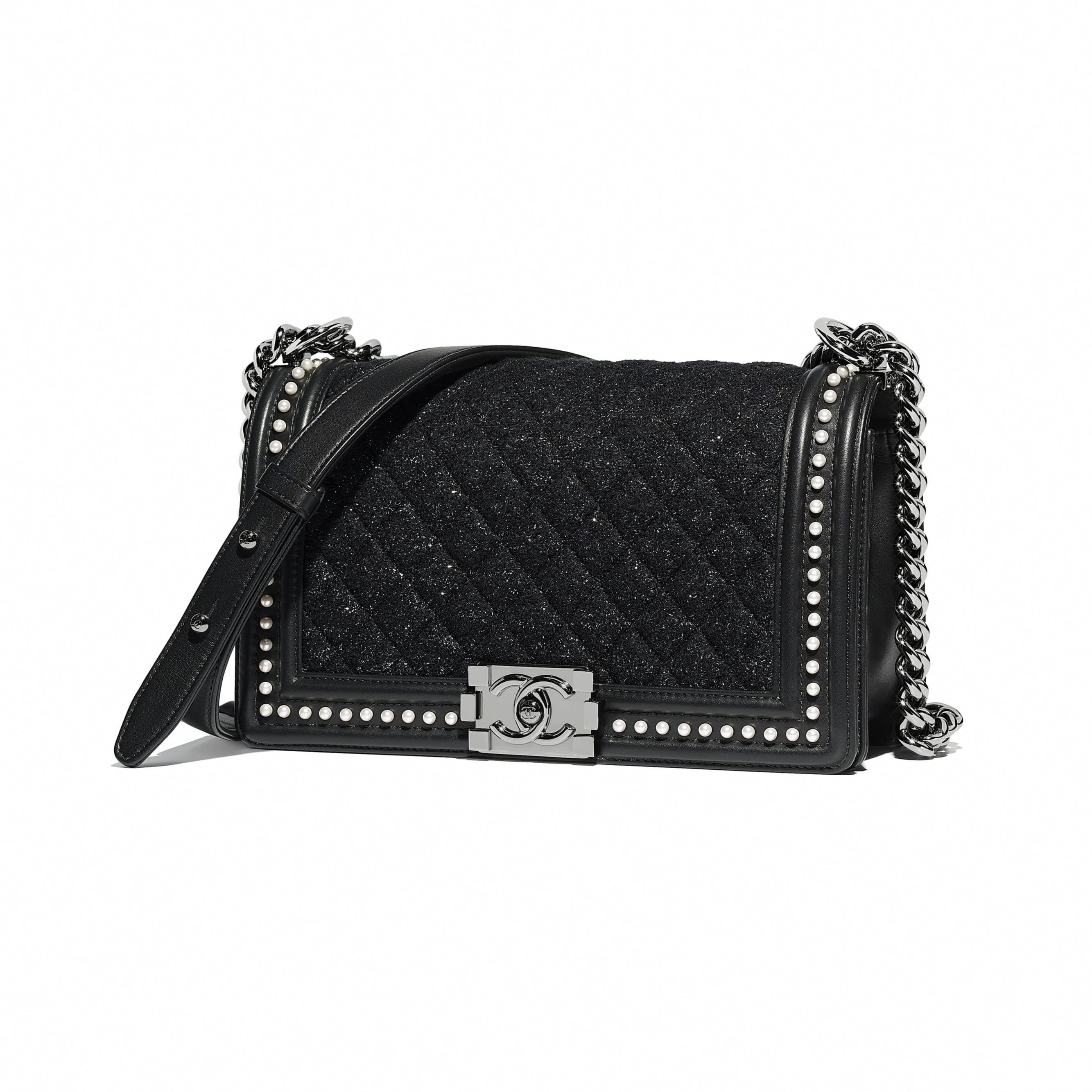 f8b1c1e561b5 Tweed, Calfskin, Imitation Pearls & Ruthenium-Finish Metal Black BOY CHANEL  Handbag   CHANEL #Designerhandbags