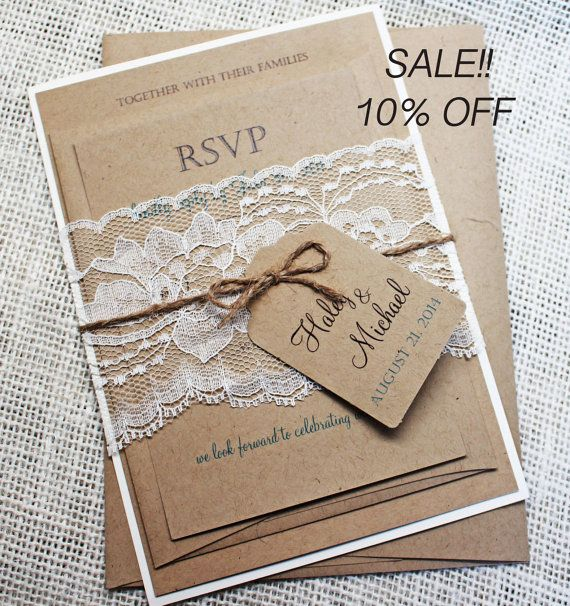 Off Rustic Wedding Invitation Lace By