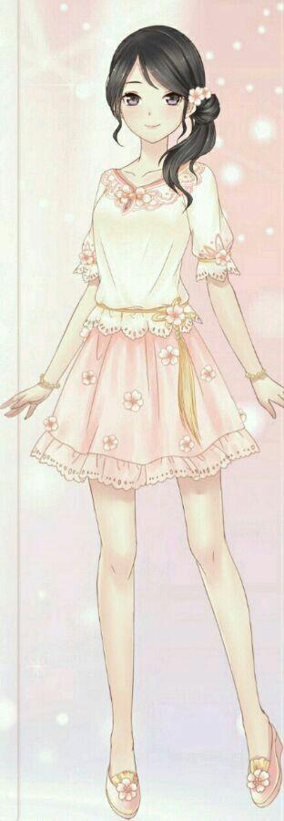Photo of Bun hairstyle. Kawaii anime girl