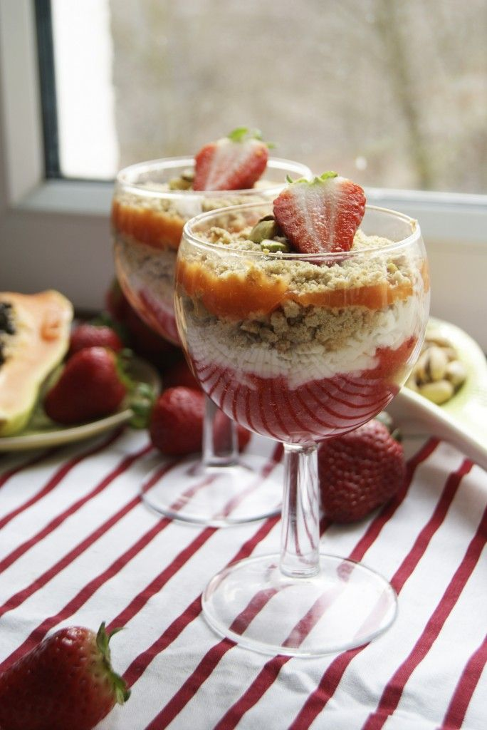 desert with strawberry mouse, ricotta with pistachio, cookies and papaya mouse