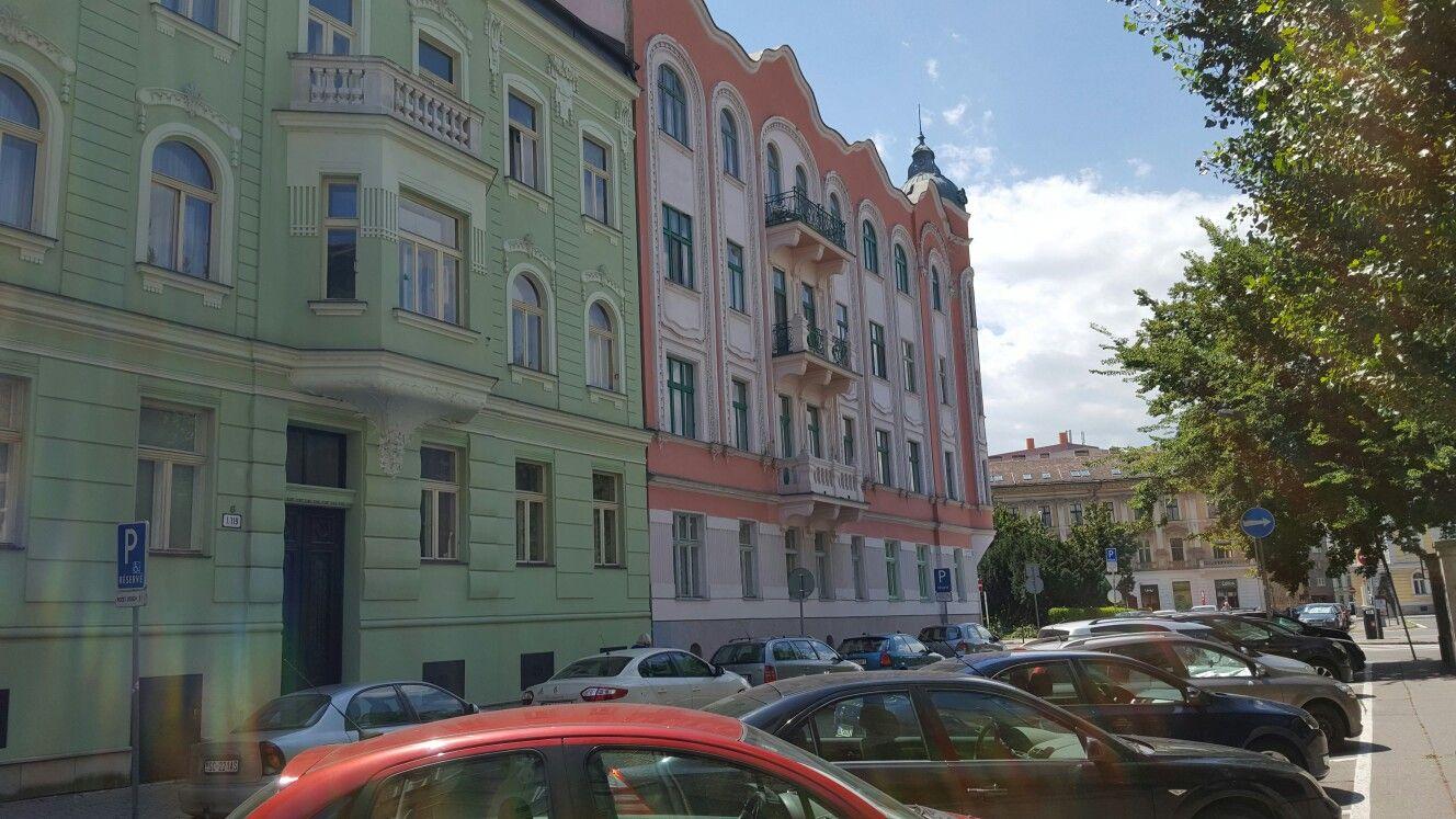 Color ful streets near blue church