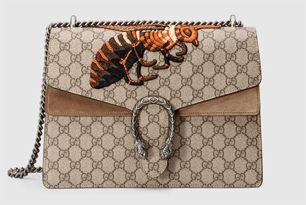 Gucci Dionysus GG Supreme Canvas Shoulder Bag with embroidered bee & taupe suede