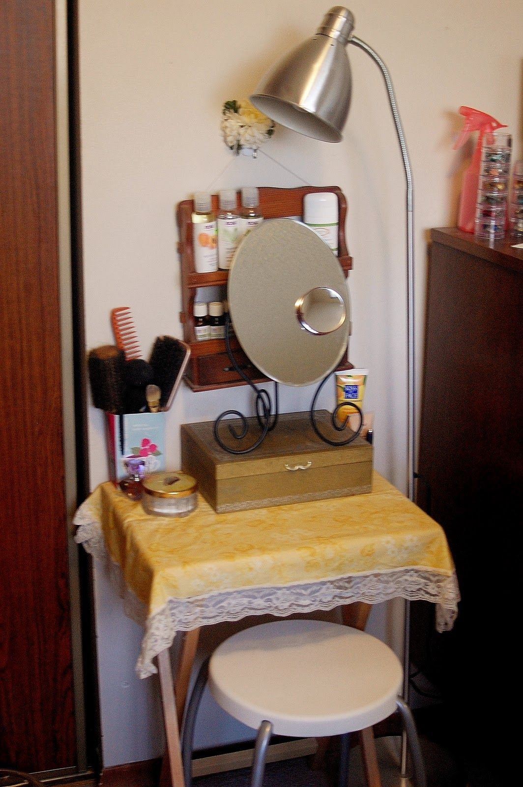 My Own DIY Makeup Vanity, Using Inexpensive Melamine Shelving. Fits In A  Very Small Space!   Makeup   Pinterest   Melamine Shelving, Diy Makeup  Vanity And ...