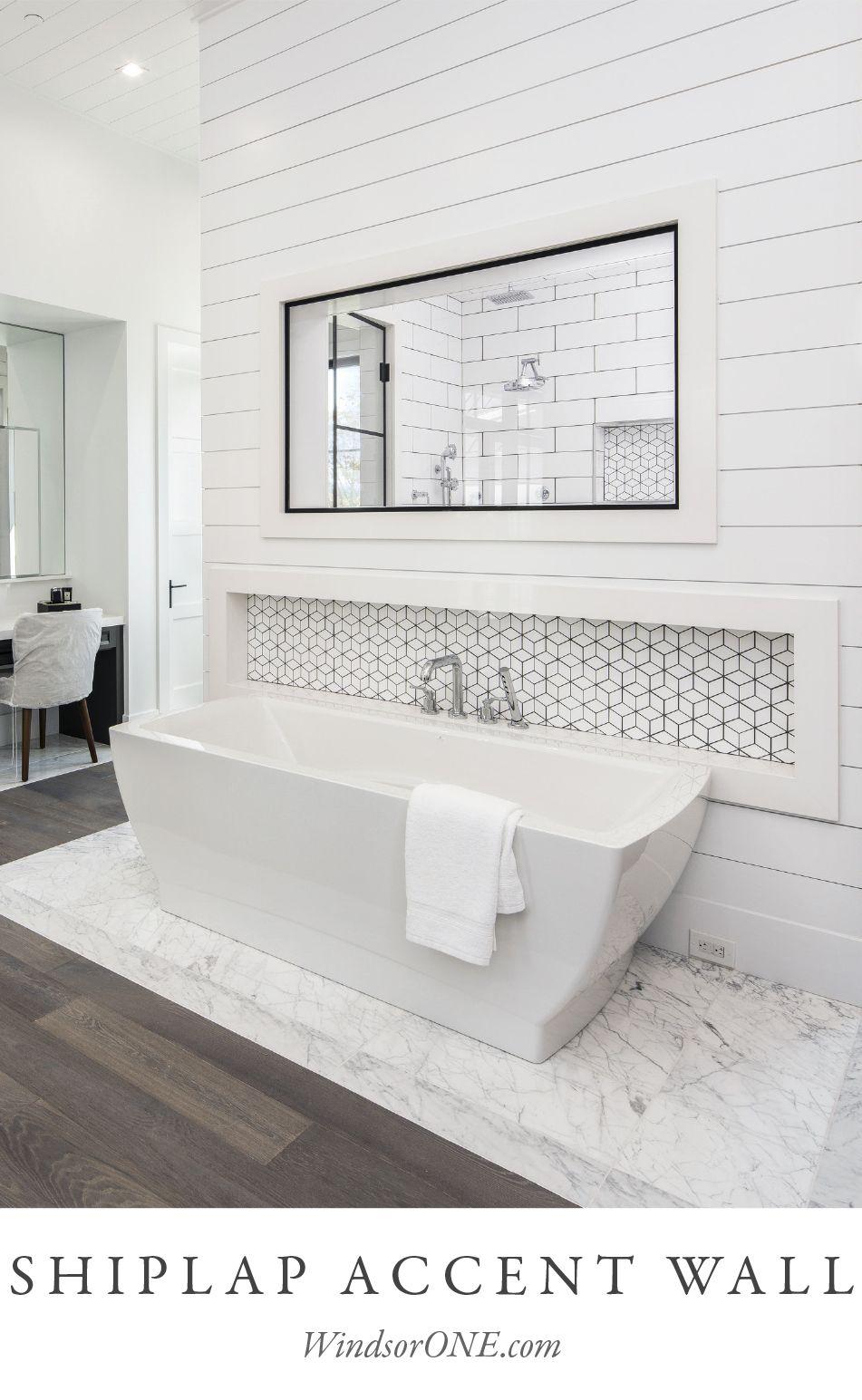 Shiplap Wall In Modern Bath Windsorone Bathroom Renovation Diy Bathroom Interior Shiplap Accent Wall