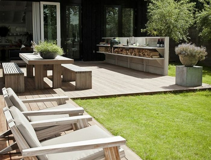 Terrasse en béton naturel et voiles apparents - Extradal - Béton