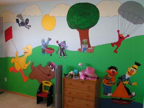 Sesame Street Kids Bedroom, This Is My Daughters Sesame Street Bedroom I  Painted For Her Part 21