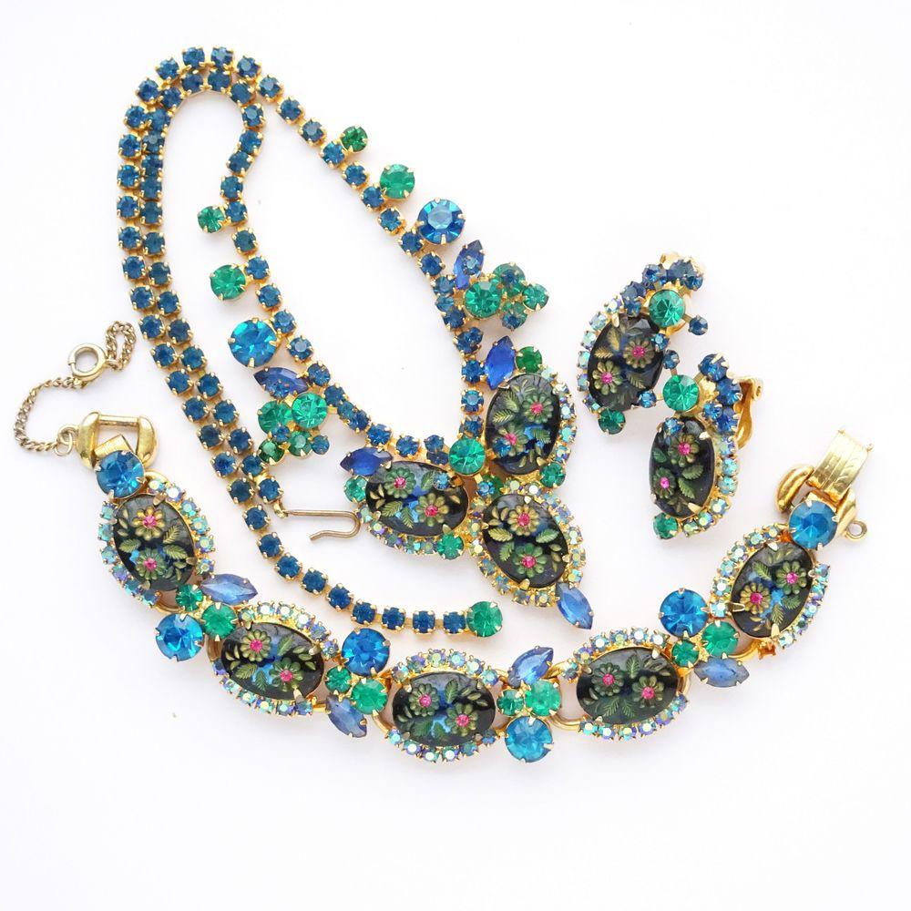 D+E Juliana Rhinestones Blue Flower Necklace Bracelet Earrings Demi Book Pieces #DeLizzaElster