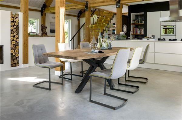 Tafel poot in het midden: vergadertafel steigerhout h poot